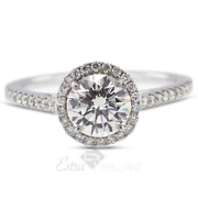 1.40ct F/si2 Round Natural Diamonds 18k White Gold Halo Side-stone Ring