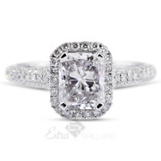 1.25ct H Si1 Radiant Natural Diamonds 18k White Gold Halo Side-stone Ring