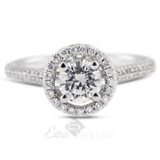 0.92ct G/si1 Round Natural Diamonds 18k White Gold Halo Side-stone Ring