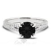4.31 Ctw Black Round Cut Earth Mined Certified Diamonds 18k Gold Side-stone Ring