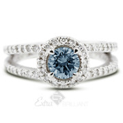 1.38ct Blue Si2 Round Earth Mined Certified Diamonds Plat Halo Side-stone Ring