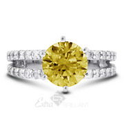 1.50ct Yellow Si1 Round Cut Earth Mined Certified Diamonds Plat Side-stone Ring