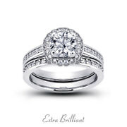 0.89ct I/vs2 Round Natural Certified Diamonds Plat Halo Ring With Wedding Band