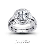 1.06ct F Si1 Round Earth Mined Certified Diamonds 18k Halo Engagement Ring Set