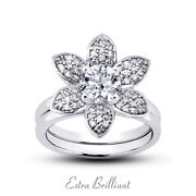 0.97ct E/vs2 Round Natural Certified Diamonds 18k Halo Ring With Matching Band