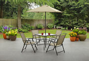 Best Outside Patio Dining Set 4 Chairs Glass Table 7' Ft Tall Umbrella Tan Color