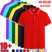 Menand039s Striped Causal Cotton Polo T Shirt Jersey Short Sleeve Sport Golf Top Tees