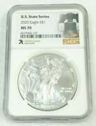 7k Label Ms70 Silver Eagle Us State Series 1oz Ngc Graded Pennsylvania K690