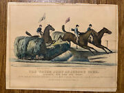 """Original Currier And Ives Stone Lithograph Of """"the Water Jump At Jerome Park"""" 1877"""