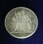1908 French Indo-chine Francaise Piastre De Commerce Silver Coin