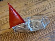 Antique-vtg Molded Glass Sailboat Boat Celluloid Sail Candy Dish Toy Ashtray Old