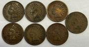 Seven Indian Head Cents 1901190219041905190619071908 Penny Coins As