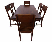 Solid Wood Handmade 7 Piece Dining Set With Metal Legs - Table And Six Chairs