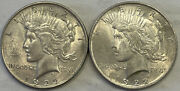 2 1922 Peace Silver Dollars As