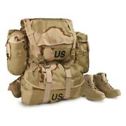 Desert Molle Field Backpack Complete W/ Frame Camo Bag Us Military Surplus Camp