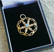 Antique 14k Gold Necklace Pendant Starfish Set With Opal And Seed Pearls.