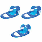 Swimways Spring Float Recliner With Canopy Water Summertime Lounge Seat 3 Pack