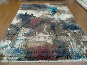 8and039 X 10and039 Rug   Modern Luxury Hand-knotted Wool And Tencel High Low Multi Color