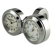 Marlinand039s Classic Adjustable Ring Style Handlebar Dual Mount Clock And Thermometer