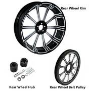 18 X 5.5and039and039 Rear Wheel Rim And Hub And Belt Pulley Sprocket Fit For Harley Touring 20