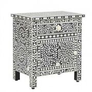 Made To Order Bone Inlay Indian Handicraft Bedside Cabinet Table Black Floral