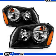 For 2005-2007 Dodge Magnum Black Replacement Headlights Driver Passenger Pair