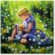 Girl With Dandelion Flower Child Modern Art Wall Picture Oil Painting No 1076