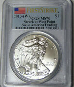 Pcgs Ms70 2013-w American Silver Eagle Silver Dollar No Mint Mark On Coin