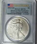Pcgs Ms70 2013-s American Silver Eagle Silver Dollar No Mint Mark On Coin