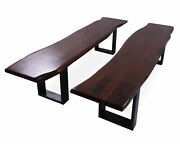 Solid Wood Handmade Dining Bench With Metal Legs Set Of Two