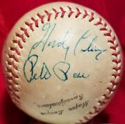 1963 Pete Rose Rookie And Last Year Stan Musial Signed Reds Cardinal Ball Hof Auto