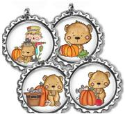 Fall Halloween Kid's Bottle Cap Necklace And Chain Set Of 4, 8, 12 Party Favors