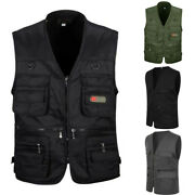 Mens Multi Pocket Cotton Utility Cargo Vest Waistcoat Fishing Travelling Hiking