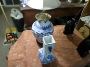 Chinese Blue And White Porcelain Ginger Jar Table Lamp. Diane Lamp Shade
