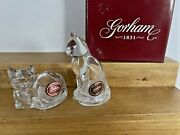 Vintage Nos Crystal Cats Salt And Pepper Shakers By Gorham And Lenox