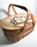 Woven Wood Picnic Basket Lid And Two Handles Hand Painted Signed Bird Houses