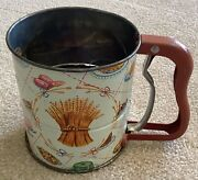 Androck Hand-i-sift Flour Sifter Floral Tin 1950's Mid Century Harder To Find