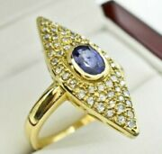 Antique Navette Ring With Oval Blue Sapphire And Rose Cut Diamonds. Yellow Gold