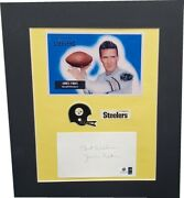 Jim Finks Hand Signed Autographed Index Card Cut + Photo Steelers Matted Ga