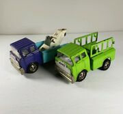 Antique Mighty Marx Trucksgreen And Tow Truck Purple And Blue Pressed Steel