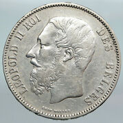 1873 Belgium With King Leopold Ii And Lion Genuine Silver 5 Francs Coin I89968