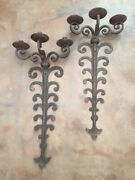 1 Pair Large Vintage Handforged Spanish Revival Wrought Iron Candle Wall Sconce