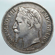 1868 Belgium With King Leopold Ii And Lion Antique Silver 5 Francs Coin I90019