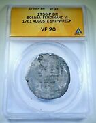 1756 Auguste Shipwreck Silver 8 Reales 1700's Vf Spanish Dollar Pirate Cob Coin