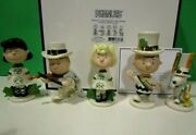 Lenox Peanuts Saint Patrick's Day Set New In Box Withcoa Snoopy Lucy Linus Sally