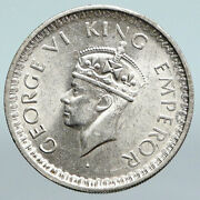 1944 India States Uk King George Vi Antique Silver 1/2 Rupee Indian Coin I90037