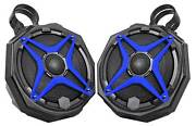 6.5 Roll Cage Ssv Tower Speakers For Polaris General+pod Enclosures+blue Grills