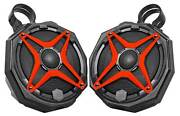 6.5 Roll Cage Ssv Tower Speakers For Polaris General +pod Enclosures+red Grills