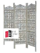 Made To Order Hand Carved Indian 4 Panel Screen White Finishscreen Room Divider