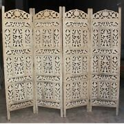 Made To Order Hand Carved Indian 4 Panel Screen Room Divider White Hand Painted